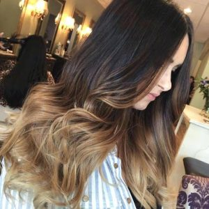 ombre brown to blonde medium hair color