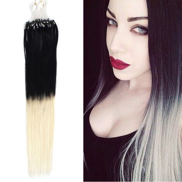 18 0 4g strands Ombre Color 1 613 Black to Light Blonde Micro Loop Ring