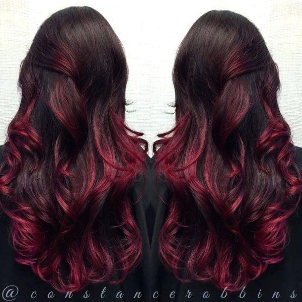 ombre hair dark brown description violet red and magenta to blonde medium length